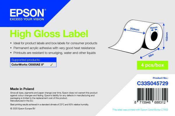 High Gloss Label - Continuous Roll: 203mm x 58m